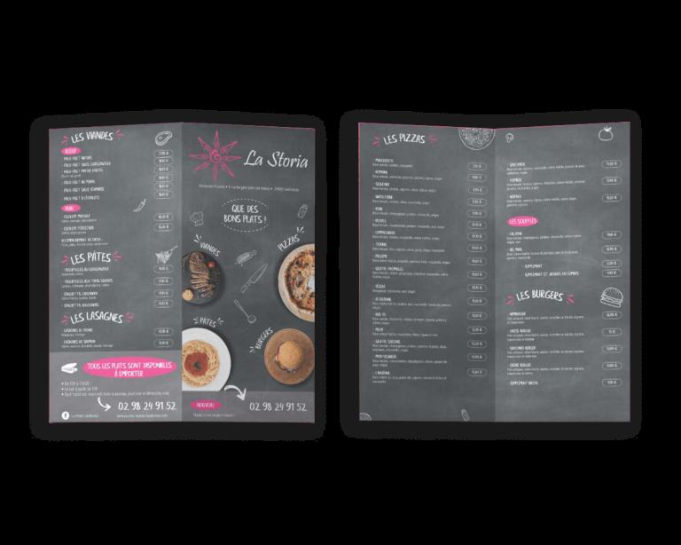 creation-flyer-depliant-pizzeria-la-storia-landivisiau-agence-communication